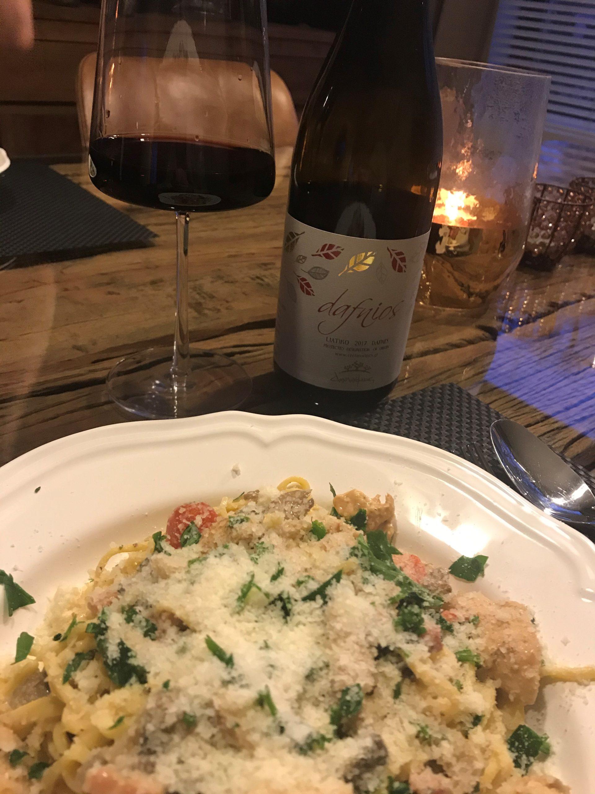 Dafnois rood met pasta gerecht